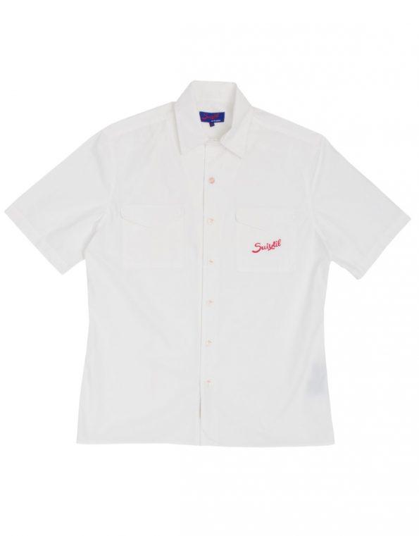 Suixtil Men's Brescia 100% Cotton Popelin Short Sleeve Race Shirt, Ice White