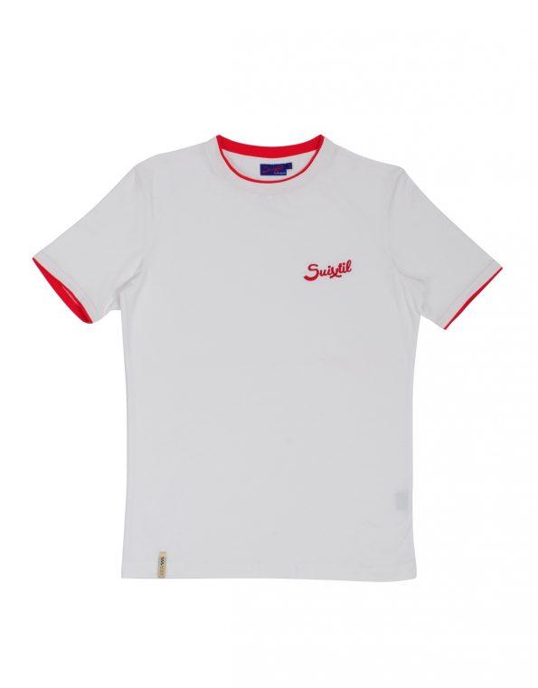 Suixtil Men's 100% Pima Cotton Cuba T-Shirt, Pure White (W/Red)