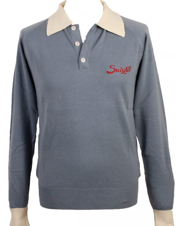 Suixtil Men's Florio 100% Pima Cotton Long Sleeve Sweater, Blue / White