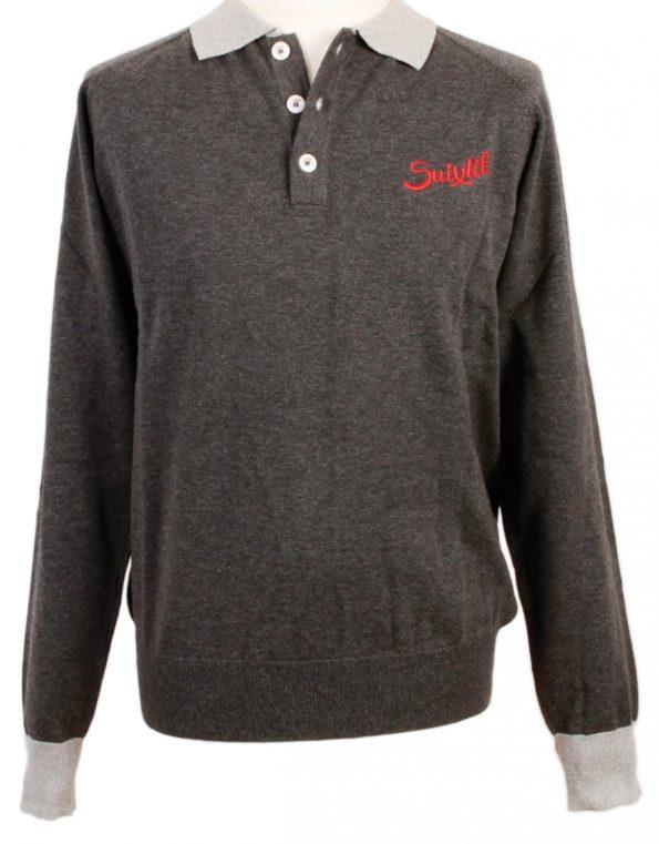 Suixtil Men's Florio 100% Pima Cotton Long Sleeve Sweater, Asphalt & Tar
