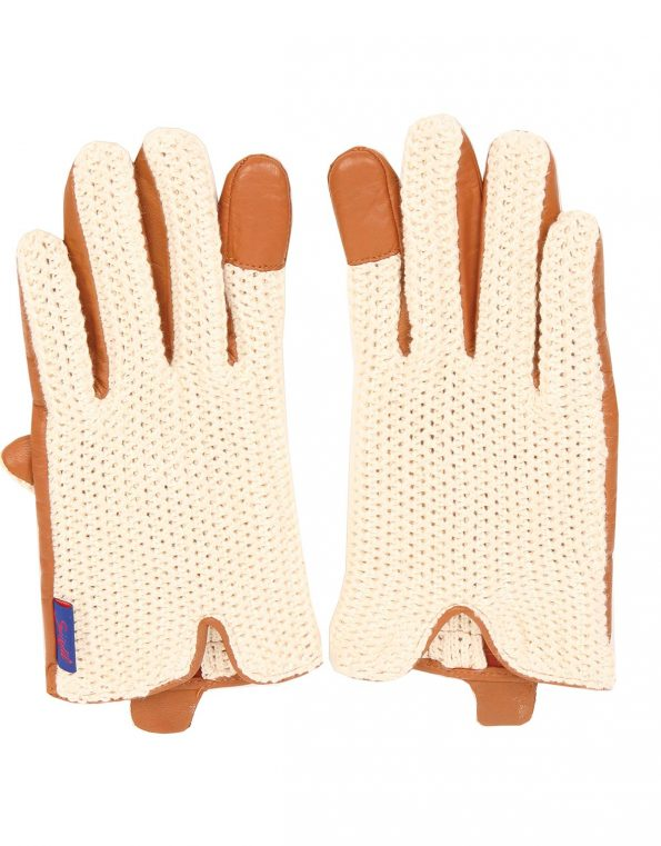 Suixtil Men's Cognac Grand Prix Race Leather & Stringback Cotton Driving Gloves