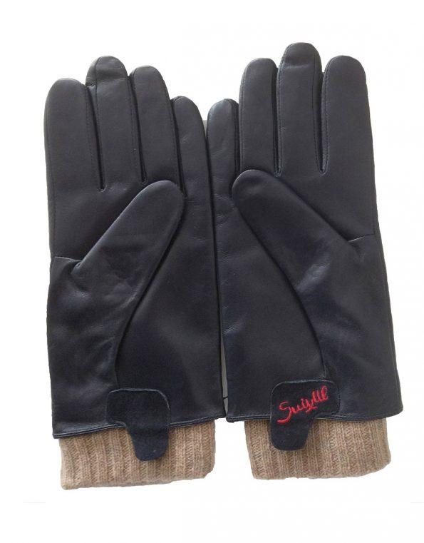 Suixtil Men's Gran Turismo cashmere & lamb leather Driving Gloves, Navy Blue
