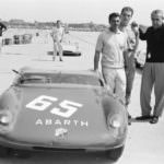 H. Herrmann, with an Abarth 2000 Sport with M. Bianchi and the creator of the car, Carlo Abarth, Vienna Austria, 1963 (c)R