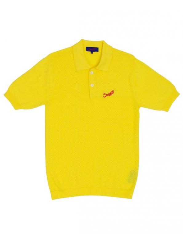 Suixtil Men's 100% Pima Cotton Nassau Short Sleeve Polo, Belgian Yellow