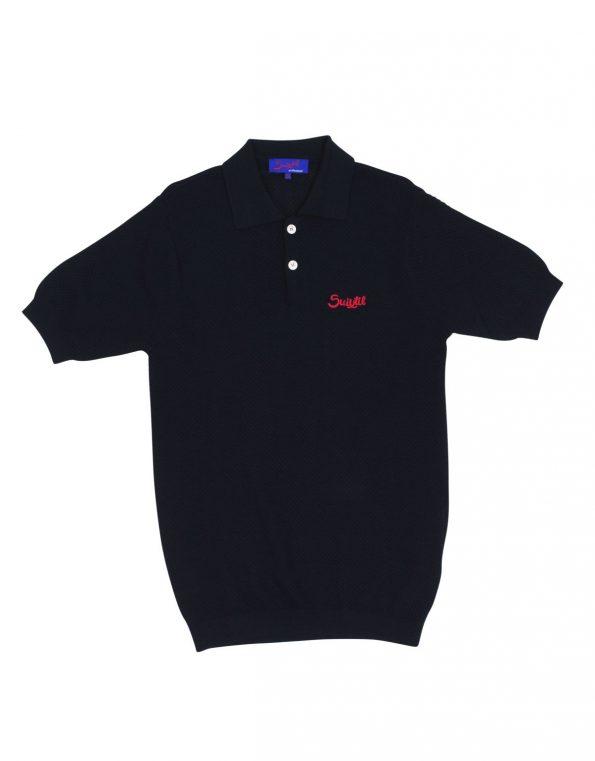 Suixtil Men's 100% Pima Cotton Nassau Short Sleeve Polo, Navy Blue