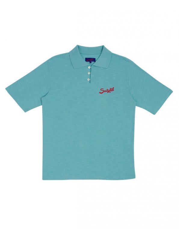 Suixtil Men's 100% Slub Yarn Cotton Rio Short Sleeve Polo, Fluid Green