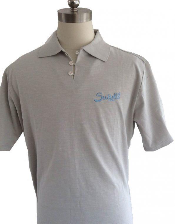 Suixtil Men's 100% Slub Yarn Cotton Rio Short Sleeve Polo, Steel Grey