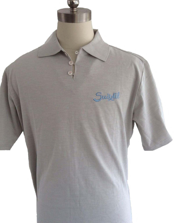 Suixtil Mens 100 Slub Yarn Cotton Rio Short Sleeve Polo Steel