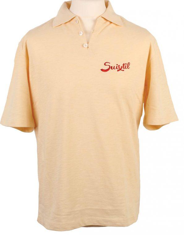 Suixtil Men's 100% Slub Yarn Cotton Rio Short Sleeve Polo, Light Yellow