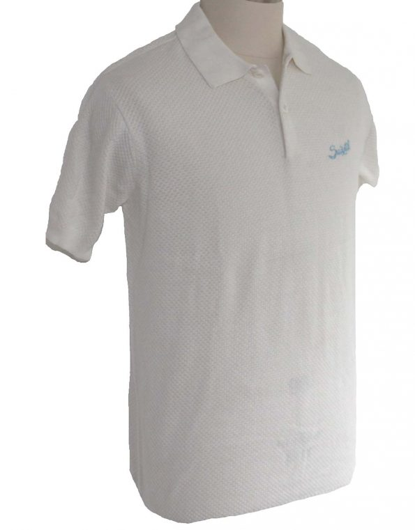 Suixtil Men's 100% Pima Cotton Nassau Short Sleeve Polo, Pure White