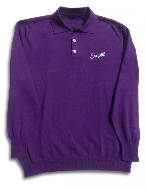 Suixtil Men's Targa 100% Pima Cotton Long Sleeve Sweater, Deep Purple