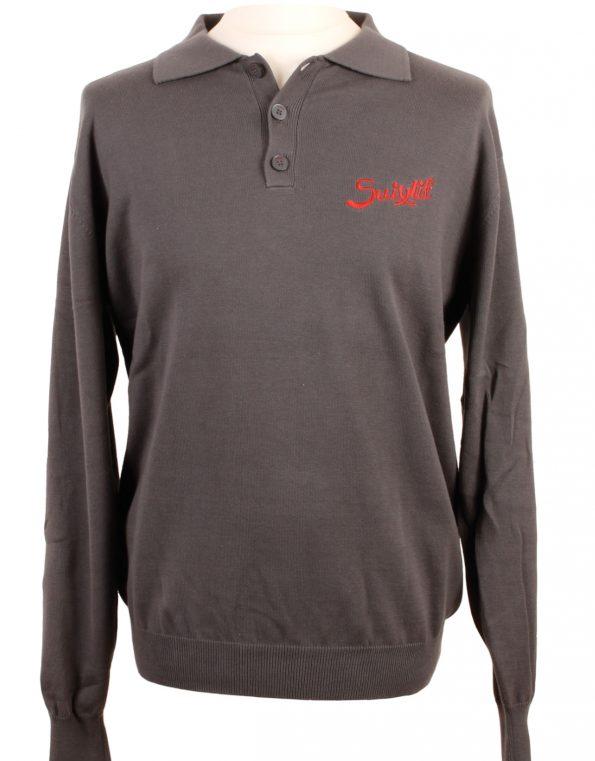 Suixtil Men's Targa 100% Pima Cotton Long Sleeve Sweater, Mid-Grey