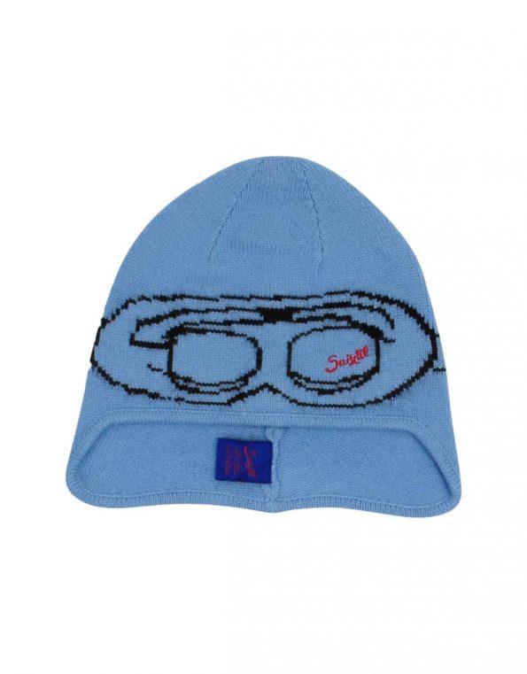 Suixtil Men's Cashmere & Wool Beanie Bonnet, Argentine Blue
