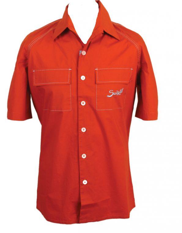 Suixtil Men's 100% Cotton Angouleme Short Sleeve Shirt, Rust orange