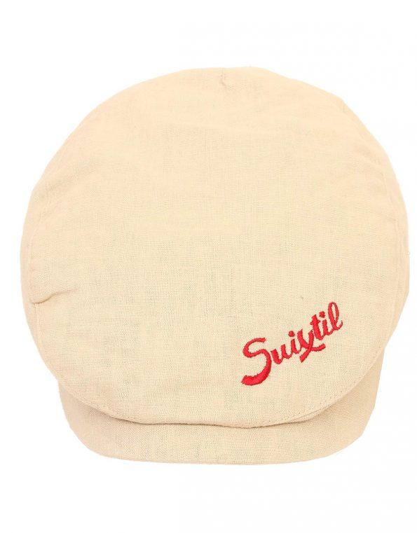 Suixtil Men's Linen-Mix Flat Cap, Beige