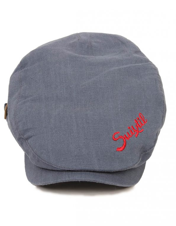 Suixtil Men's Linen-Mix Flat Cap, Steel Blue