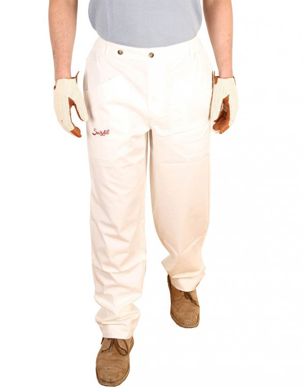 Suixtil Men's 100% Fine Cotton Twill Modena Race Pant, White