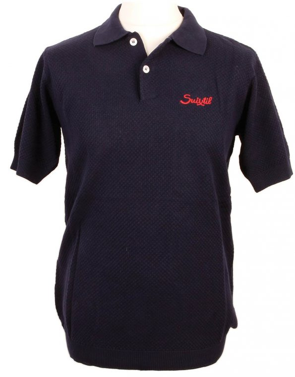 Suixtil Men's 100% Pima Cotton Nassau Short Sleeve Polo, Navy Blue