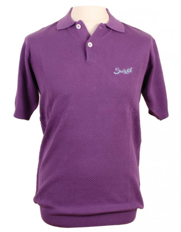 Suixtil Men's 100% Pima Cotton Nassau Short Sleeve Polo, Diesel Purple