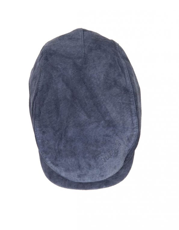 Suixtil Men's 100% Suede Flat Cap, Denim Blue