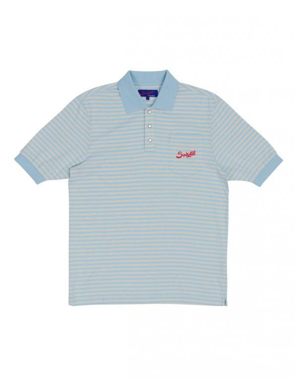 Suixtil 100% fine PIMA cotton Pescara striped short sleeve polo,  Argentine blue & grey