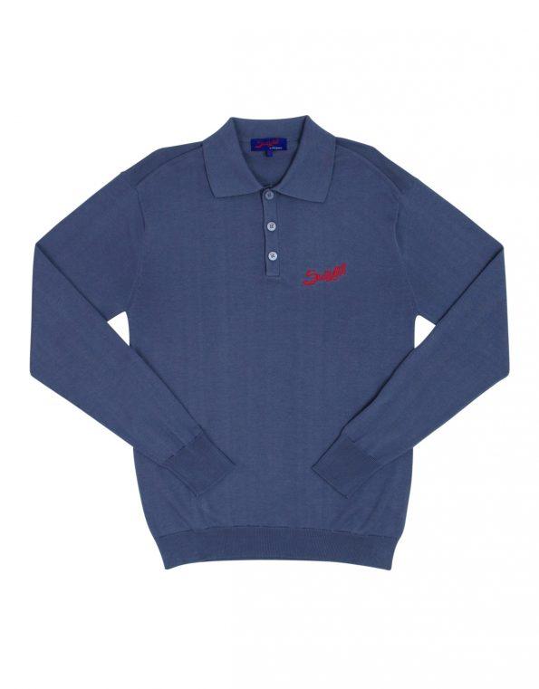 Suixtil Men's  Targa 100% Pima Cotton Long Sleeve Sweater, Steel Blue