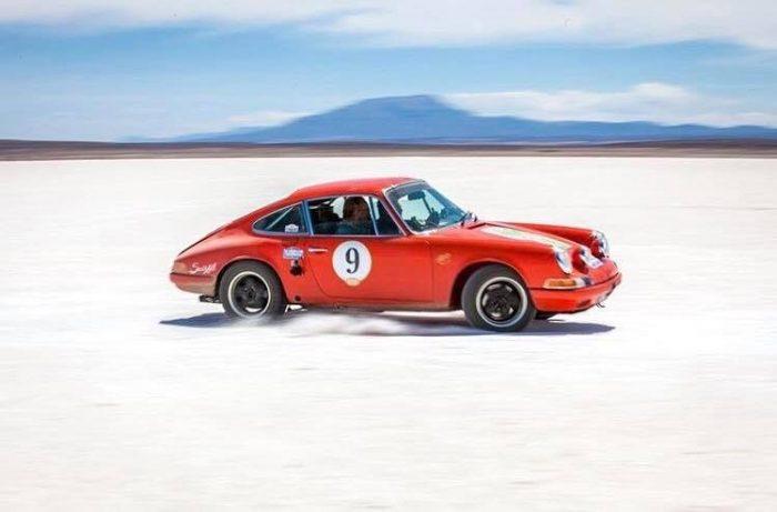 Porsche 911 at speed on the salt