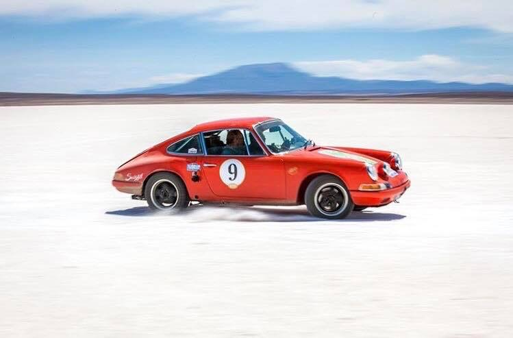 Porsche 911 at speed on the salt