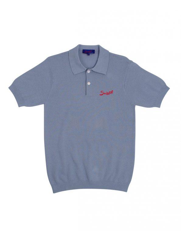 Suixtil 100% Pima cotton Nassau short sleeve polo, Light blue