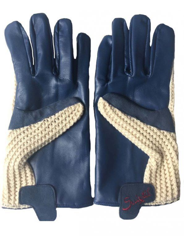 Suixtil Men's French blue Grand Prix Race Leather & Stringback Cotton Driving Gloves