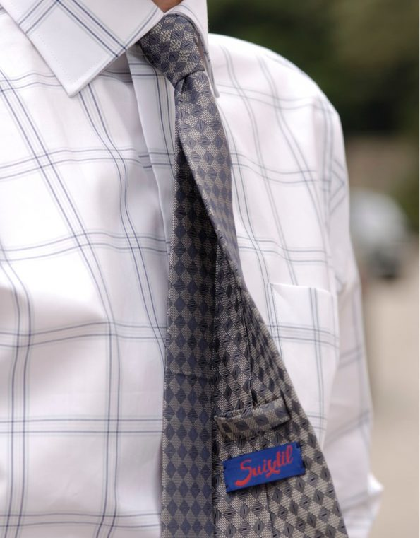 Stylish Suixtil Silk Tie in Silver & Blue
