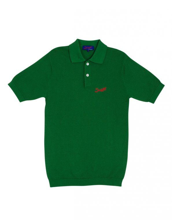 Suixtil 100% Pima cotton Nassau short sleeve polo, pasture green