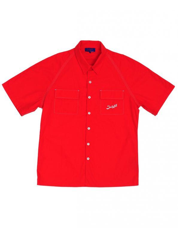 Suixtil Men's 100% Cotton Angouleme Short Sleeve Shirt, Blood red