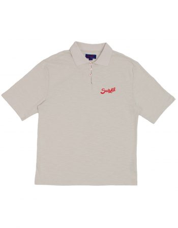 Rio Polo – Aluminum Grey with Red Accents – 100% slub yarn cotton – web1