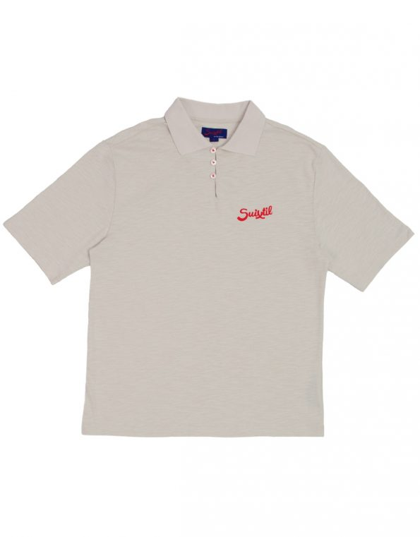 NEW Suixtil 100% slub yarn cotton RIO short sleeve Polo,  aluminum grey with red accents
